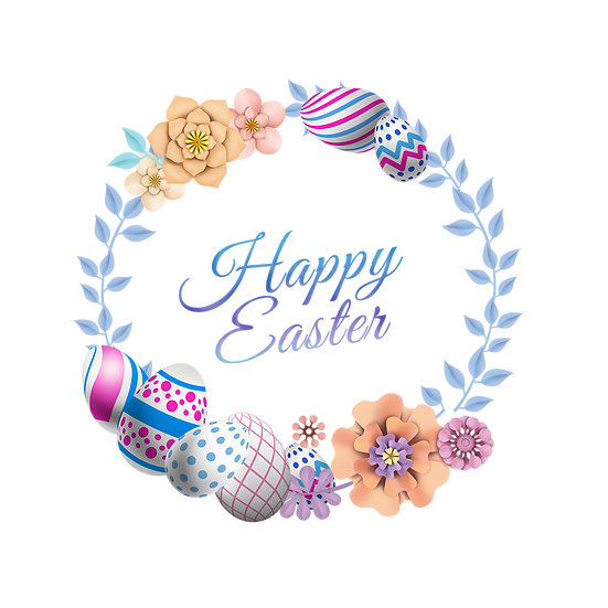 Happy Easter Enchanting Greeting Card - PNG Transparent Image - Instant Download