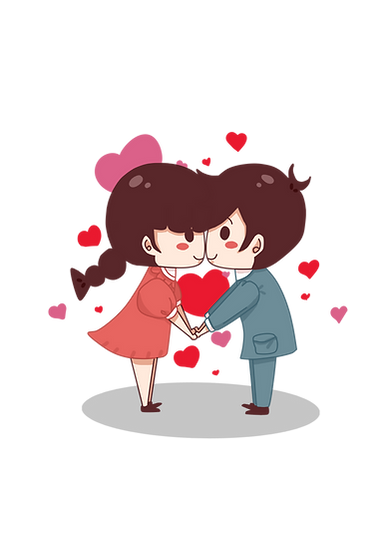 First Kiss - Valentine's Day PNG Transparent Image - Instant Download