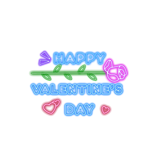 Happy Valentine's Day Neon Inscription PNG Transparent Image - Instant Download
