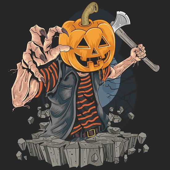 Funny Halloween Pumpkin Zombie Printables PNG Image  - Editable / Downloadable