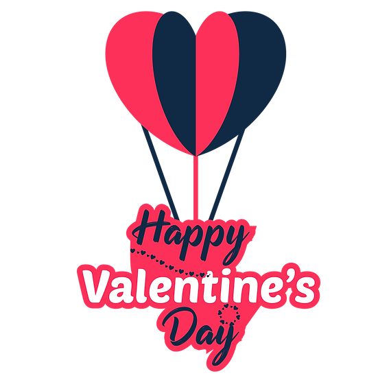 Happy Valentine's Day Clipart with Air Balloon - PNG Image - Instant Download
