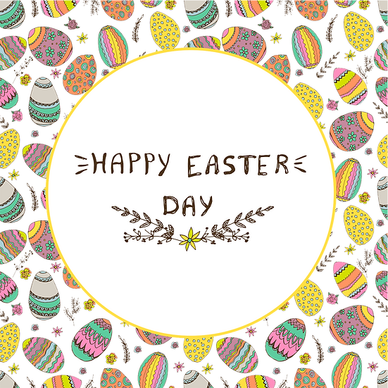 Happy Easter Magical Greeting Card - PNG Transparent Image - Instant Download