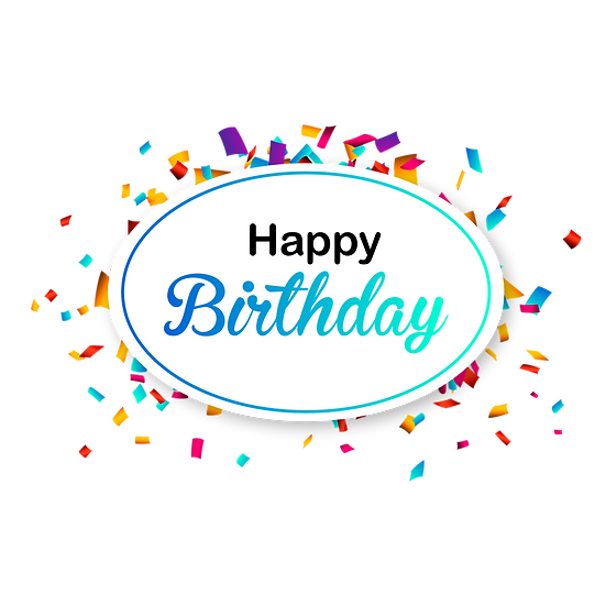Happy Birthday Clipart with Confetti - PNG Transparent Image - Digital Download
