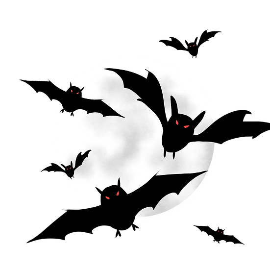 Halloween Black Bats Printables PNG Image  - Editable / Downloadable