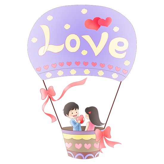 I Give You My Heart on a Hot Air Balloon - Valentine's Day PNG Transparent Image