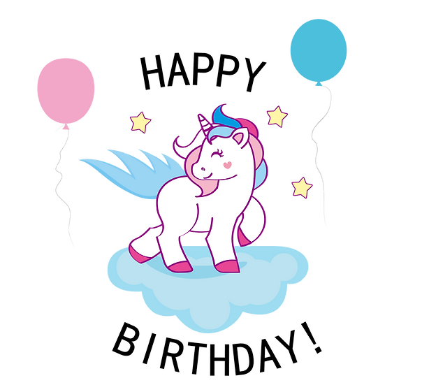 Birthday Unicorn on the Cloud - PNG Transparent Image - Digital Download