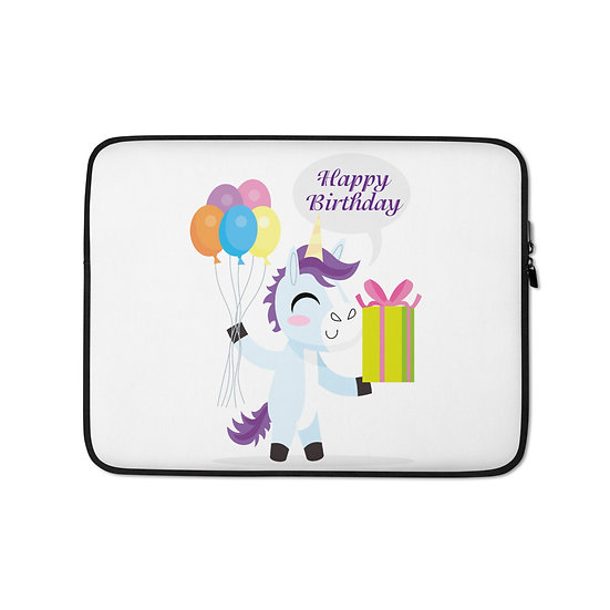 Unicorn Happy Birthday Laptop Sleeve for MacBook, HP, ACER, ASUS, Dell, Lenovo