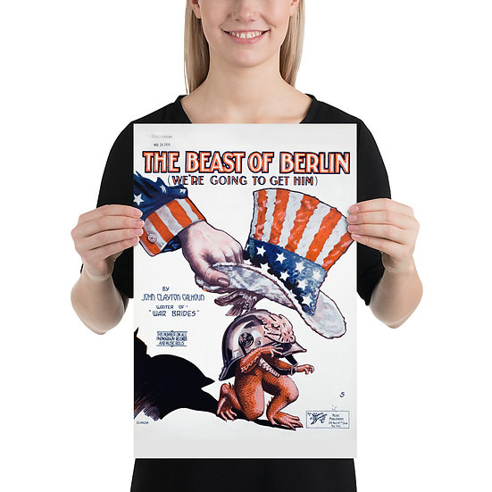 "WW1 Music Affiche Poster ""The Beast of Berlin"". WWI Anti German Propaganda"