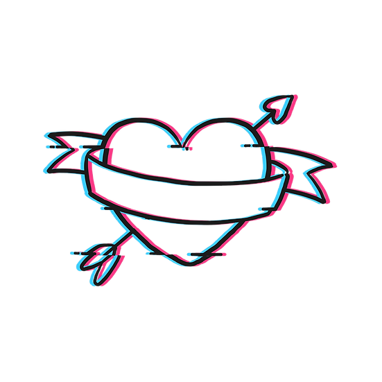 Heart with Arrow Neon Effect - Free PNGTransparent Image, Digital Download
