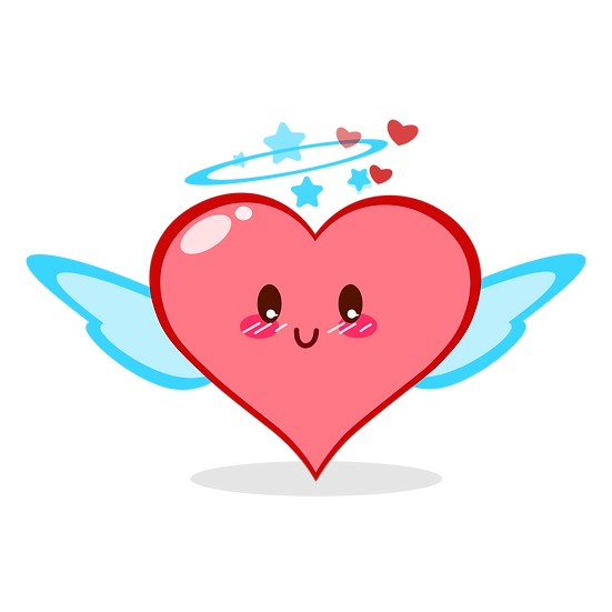 Angel Heart Clipart - Valentine's Day PNG Transparent Image - Instant Download