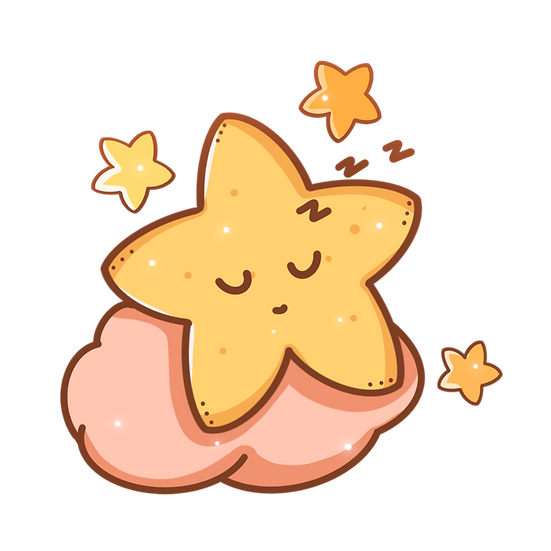 Cute Star Sleeping on the Cloud - Free PNG Transparent Image, Instant Download