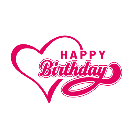 Happy Birthday Inscription with Heart - PNG Transparent Image - Digital Download