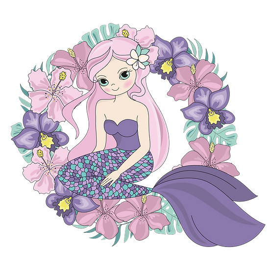 Floral Wreath with Mermaid - Free Summer PNG Transparent Image Digital Download