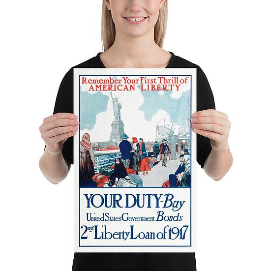 WW1 American Propaganda Poster 2nd Liberty Loan of 1917, WWI US Reprint Replica