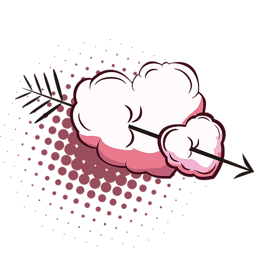 Heart-Shaped Clouds with Arrow - Free PNGTransparent Image, Instant Download