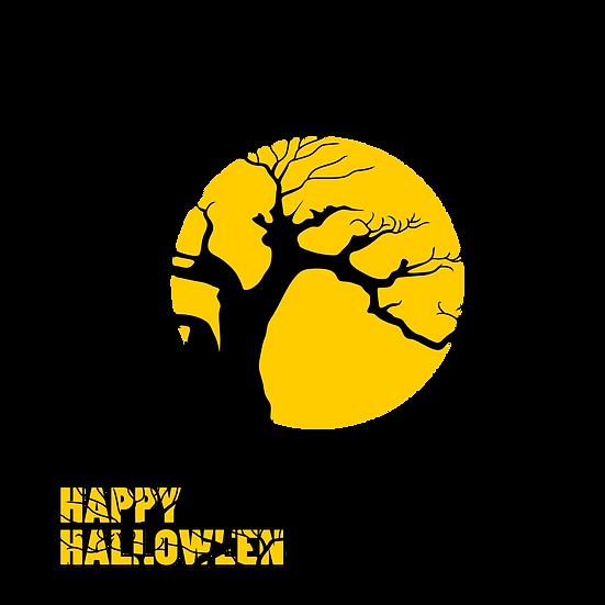 Happy Halloween Tree & Moon Printables PNG Image  - Editable / Downloadable