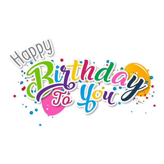 Happy Birthday to You Colorful Inscription - PNG Image - Digital Download