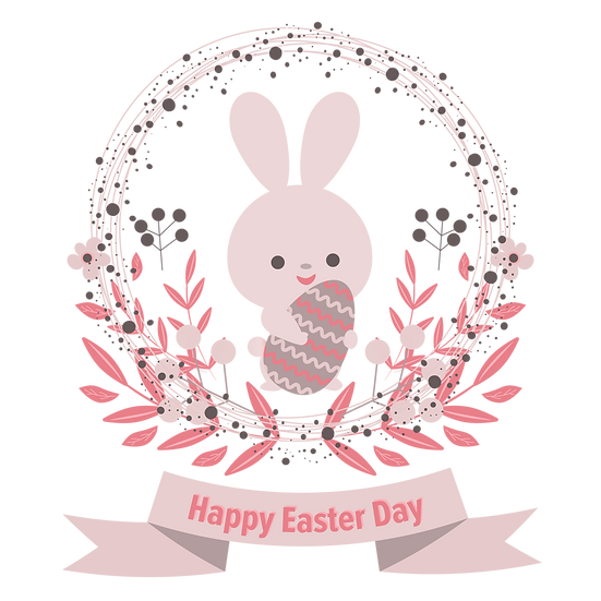 Happy Easter Day Cute Greeting Card - PNG Transparent Image - Instant Download