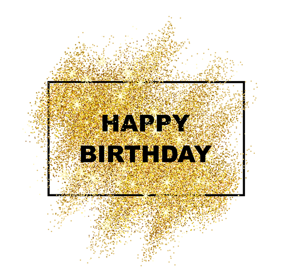 Happy Birthday Glitter Frame PNG Transparent Image - Digital Download