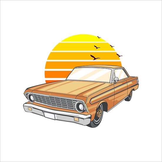 Retro Car with Sunset - Free PNG Images, Transparent Image Instant Download