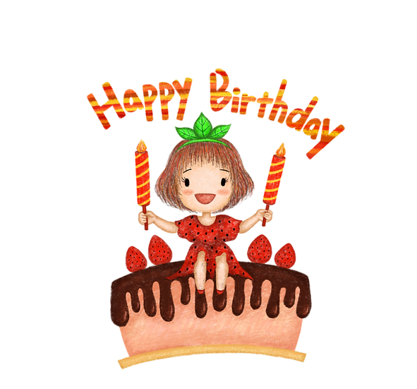 Little Girl and Birthday Cake Clipart - PNG Transparent Image - Digital Download