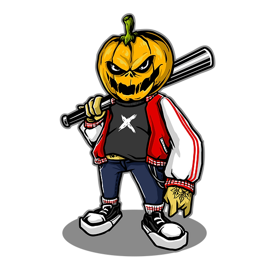 Halloween Pumpkin Baseball Player Printables PNG Image  - Editable /Downloadable
