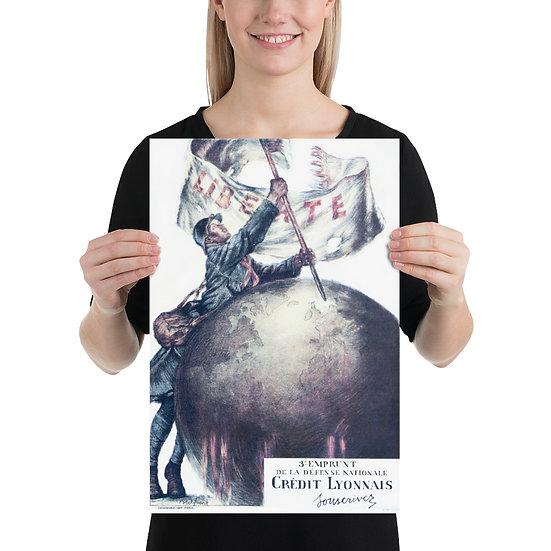 "WW1 Great War French Poster ""3e emprunt de la défense nationale credit lyonnais"""