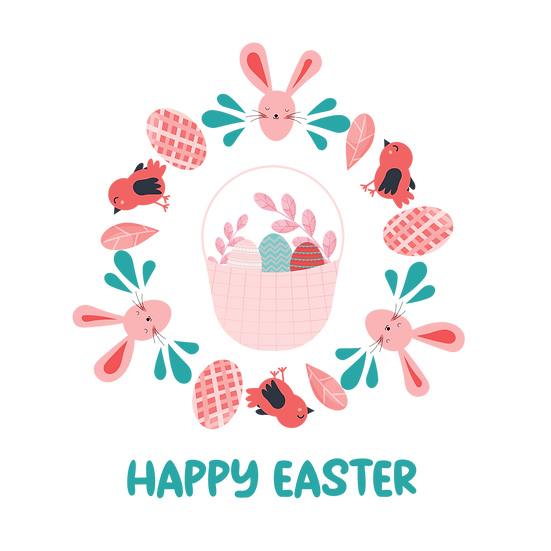 Happy Easter Funny Wreath - PNG Transparent Image - Instant Download