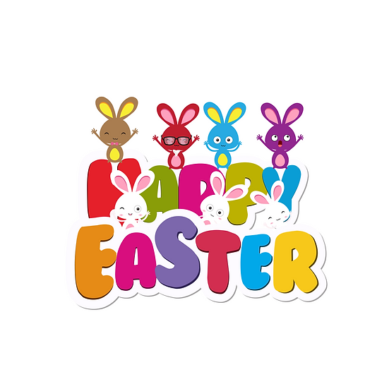 Funny Easter Greeting Card with Bunnies - Easter PNG Image - Instant Download