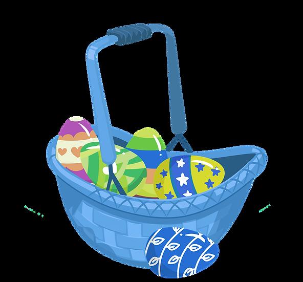 Blue Basket Filled with Easter Eggs - PNG Transparent Image - Instant Download