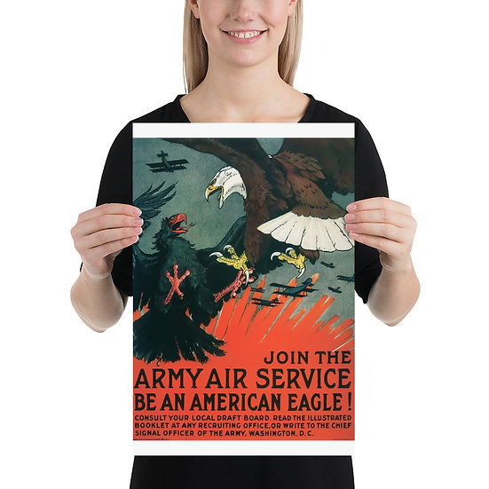"""WW1 American Recruiting Poster """"Join the Army Air Service Be an American Eagle"""""""