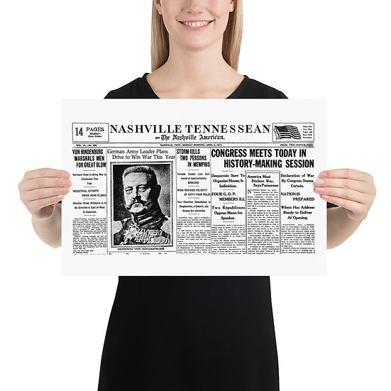 WW1 American Nashville Tennessean Propaganda Poster with Hindenburg