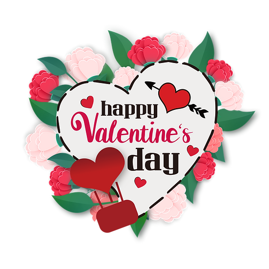Floral Greeting Card Happy Valentine's Day Transparent Image - Instant Download