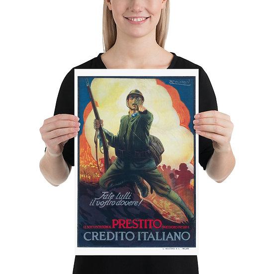 """WW1 Great War Italian Propaganda Poster """"Prestito Credito Italiano"""""""