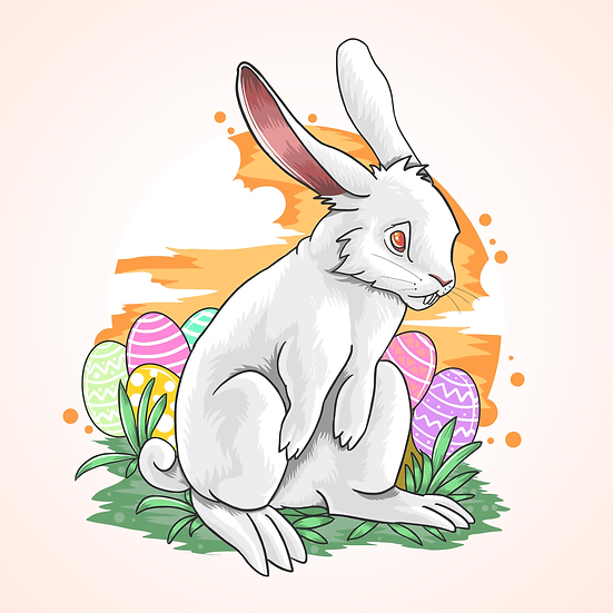 Rabbit with the Easter Eggs - Easter PNG Image - Instant Download