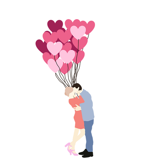 Couple with Heart-Shaped Balloons - Valentine's Day PNG Image - Instant Download