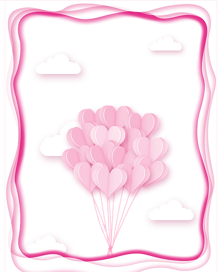 Greeting Card with Heart-Shaped Balloons - Valentine's Day PNG Transparent Image