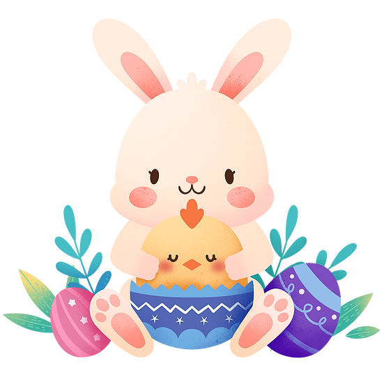 Bunny Hugging Chick Cute Clipart - Easter Transparent Image - Instant Download