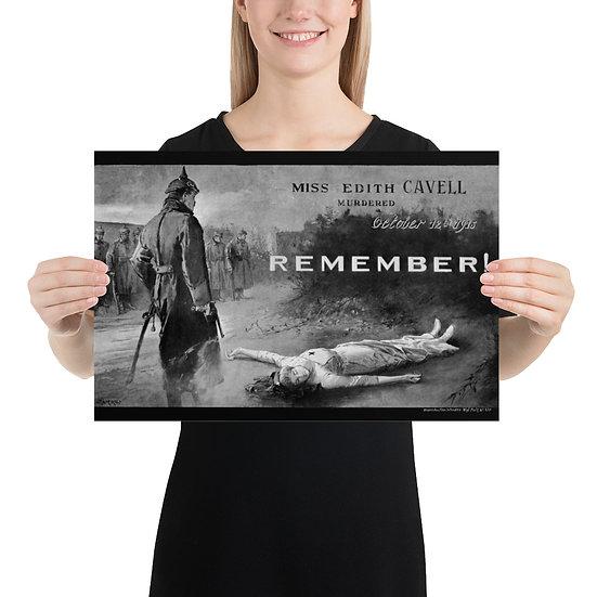 WW1 British Nurse Edith Cavell Memorabilia Poster. WWI 12 October 1915 year