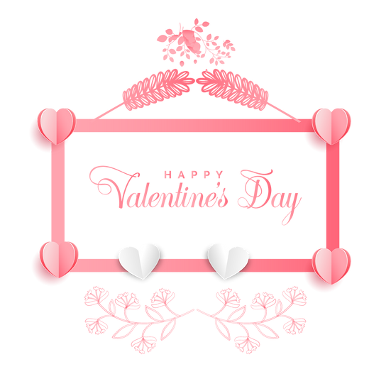 Happy Valentine's Day Pink Greeting Card - Transparent Image - Instant Download
