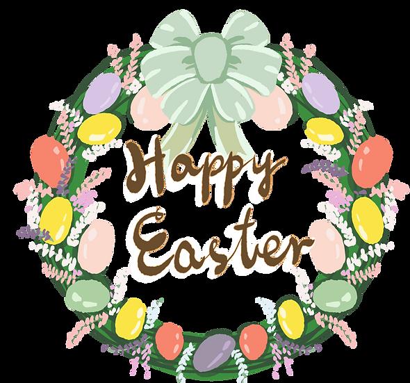 Happy Easter Festive Wreath - Easter PNG Transparent Image - Instant Download