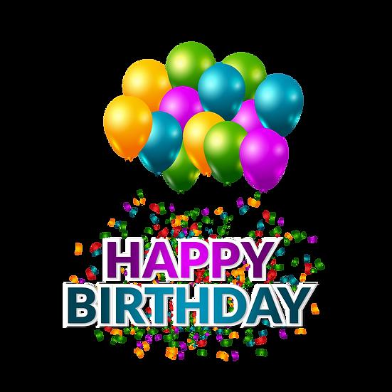 Happy Birthday  Blue & Purple Inscription PNG Transparent Image Download