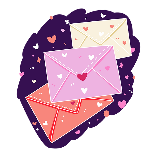 Love Letters with Hearts - Free PNG Images, Transparent Image Instant Download