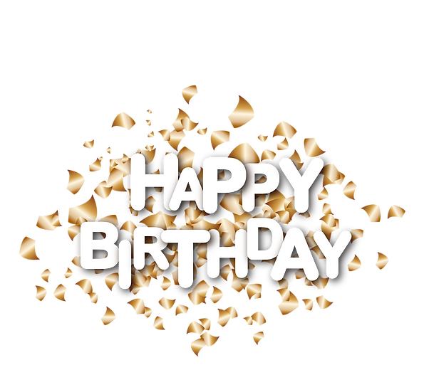 Birthday Clipart with Confetti - PNG Transparent Image - Digital Download