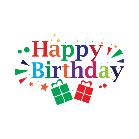 Happy Birthday Jolly Inscription - PNG Transparent Image - Digital Download