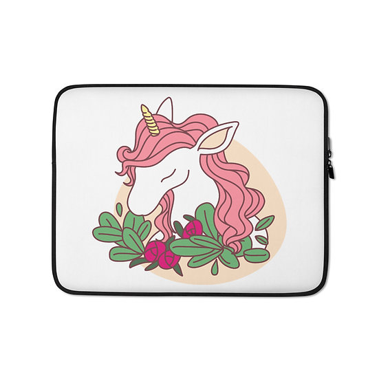 Unicorn with Flowers Laptop Sleeve for MacBook, HP, ACER, ASUS, Dell, Lenovo