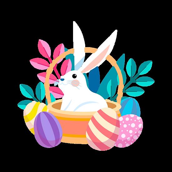 Rabbit in the Easter Basket - Easter PNG Transparent Image - Instant Download