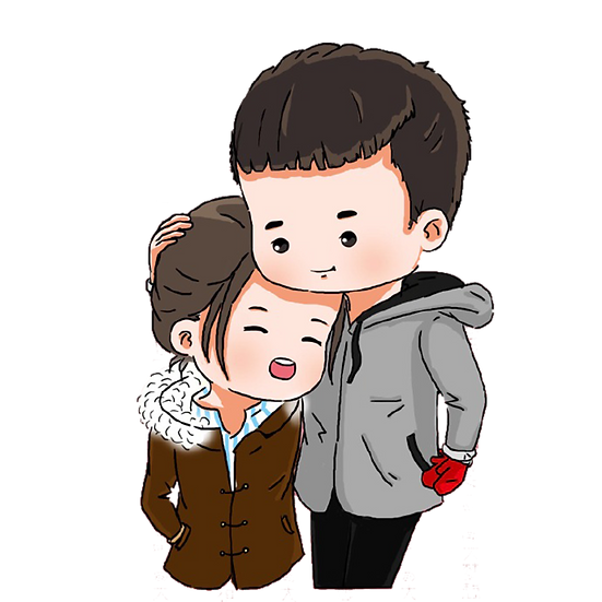 Adorable Couple on a Walk - Valentine's Day Transparent Image - Instant Download
