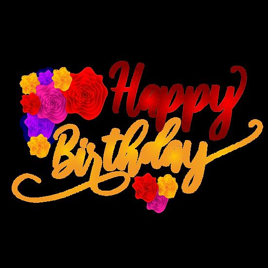 Happy Birthday Inscription PNG Transparent Image - Digital Instant Download