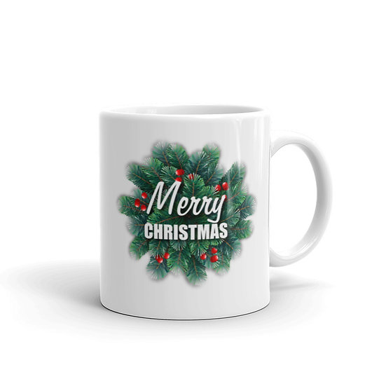 Christmas Wreath Mug for Coffee / Tea, White Ceramic